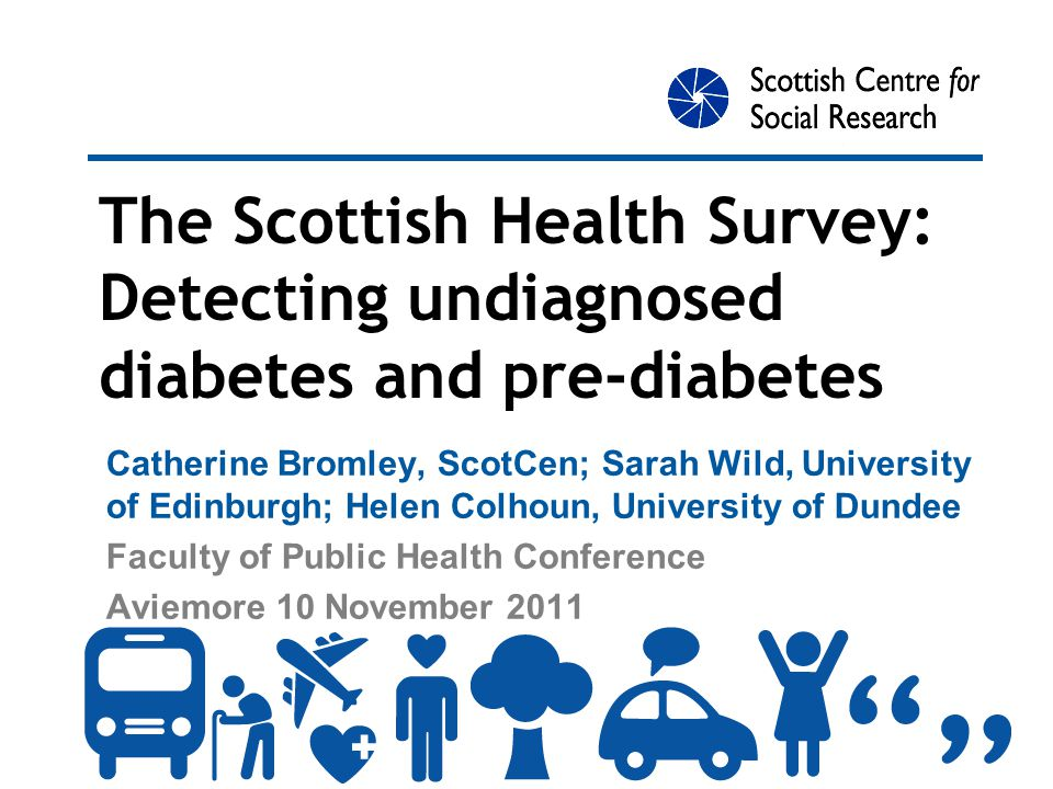 Research questions What is the prevalence of undiagnosed diabetes in adults in Scotland.