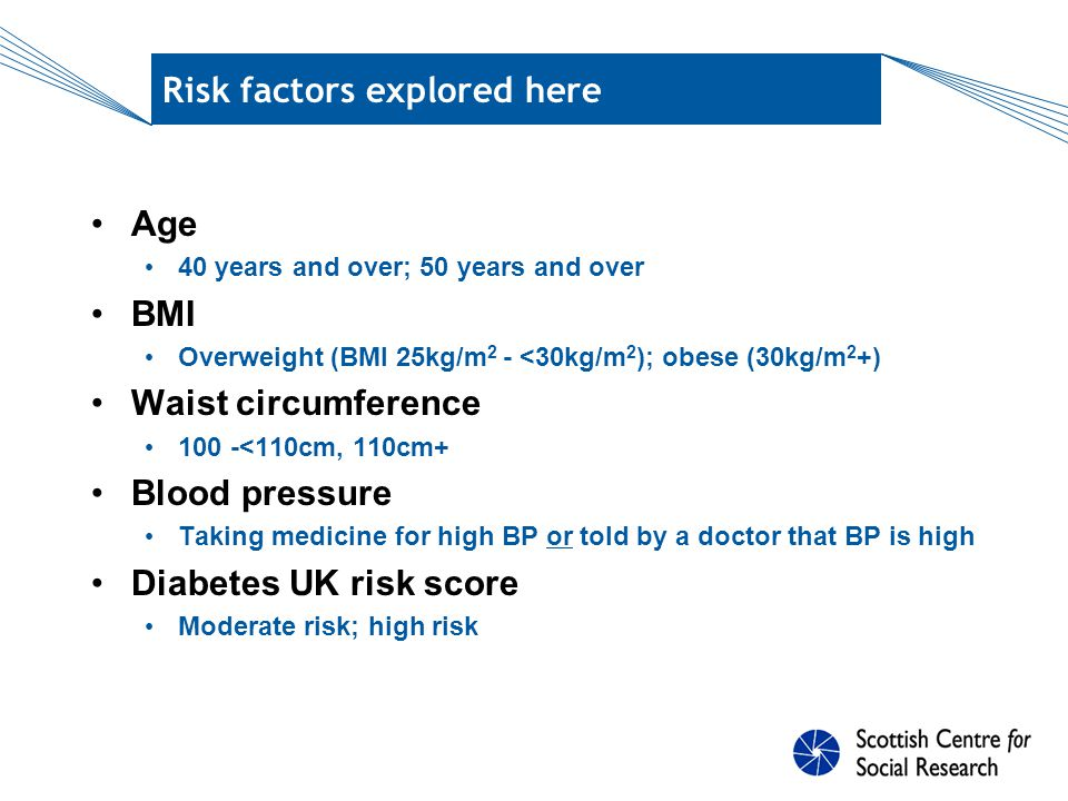 Diabetes UK risk score Derivation (points allocated per risk factor) Age – 49 years and under (0), 50-59 (5), 60-69 (9), 70+ (13) Sex – male (1), female (0) Ethnicity – white European (0), any other group (6) BMI – under 25kg/m 2 (0), 25 -<30 (3), 30 -<35 (5), 35+ (8) Waist circumference – under 90cm (0), 90 -<100cm (4), 100 - <110cm (6), 110cm+ (9) Hypertension – taking medicine for high BP or told by a doctor that BP is high (5) Family history – father/mother/sibling with DI or DM (5) Score range 0-47: 0-6=low risk, 7-15=increased risk, 16- 24=moderate risk, 25+=high risk