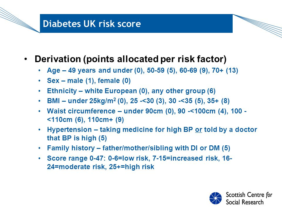 Diabetes UK risk score – SHeS data Derivation (points allocated per risk factor) Age – 49 years and under (0), 50-59 (5), 60-69 (9), 70+ (13) Sex – male (1), female (0) Ethnicity – white European (0), any other group (6) BMI – under 25kg/m 2 (0), 25 -<30 (3), 30 -<35 (5), 35+ (8) Waist circumference – under 90cm (0), 90 -<100cm (4), 100 - <110cm (6), 110cm+ (9) Hypertension – taking medicine for high BP or told by a doctor that BP is high (5) Family history – father/mother/sibling with DI or DM (5) Score range 0-42: 0-6=low risk, 7-15=increased risk, 16- 24=moderate risk, 25+=high risk