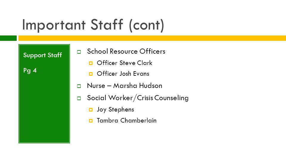 Important Staff (cont) Support Staff Pg 4  Counselors  Pam Collins (A-Da)  TBA (Db-Ja)  Melinda Gooden (Jb-McH)  Kathy Hopkins (McI-Sa)  Josh Newton (Sb-Z)