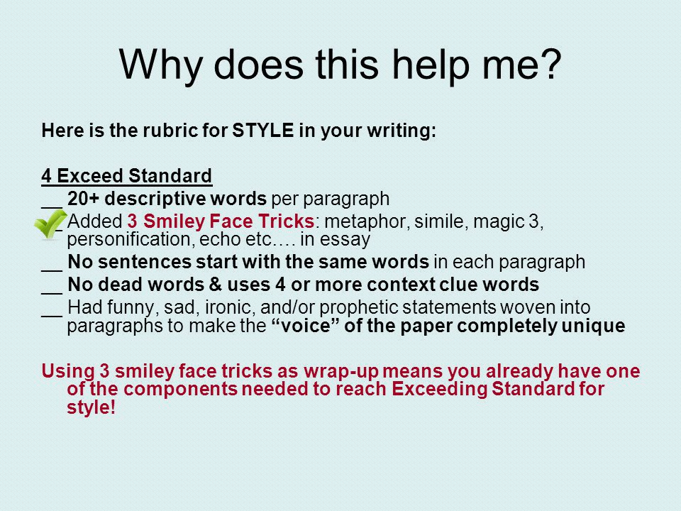 Add to your Cornell notes section please… NEVER end an essay with: – And this is why I like …. – That's all I have to say about… – This is why I… – Onto my next topic… – My essay is about… Basically, don't tell me you are writing an essay, I already know, I am reading it.