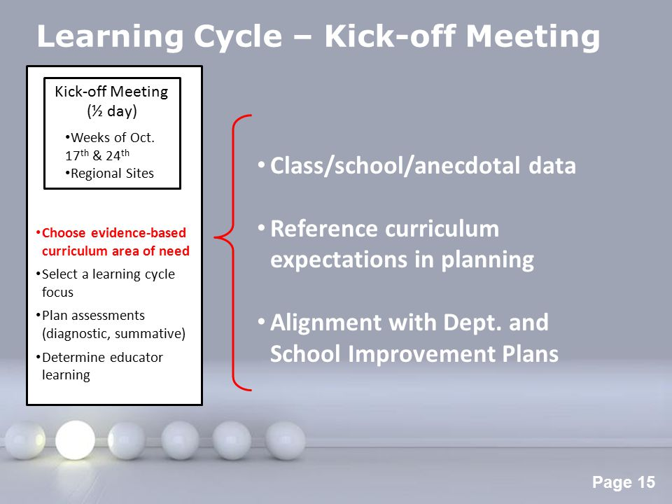 Powerpoint Templates Page 16 Learning Cycle – Kick-off Meeting Kick-off Meeting (½ day) Weeks of Oct.