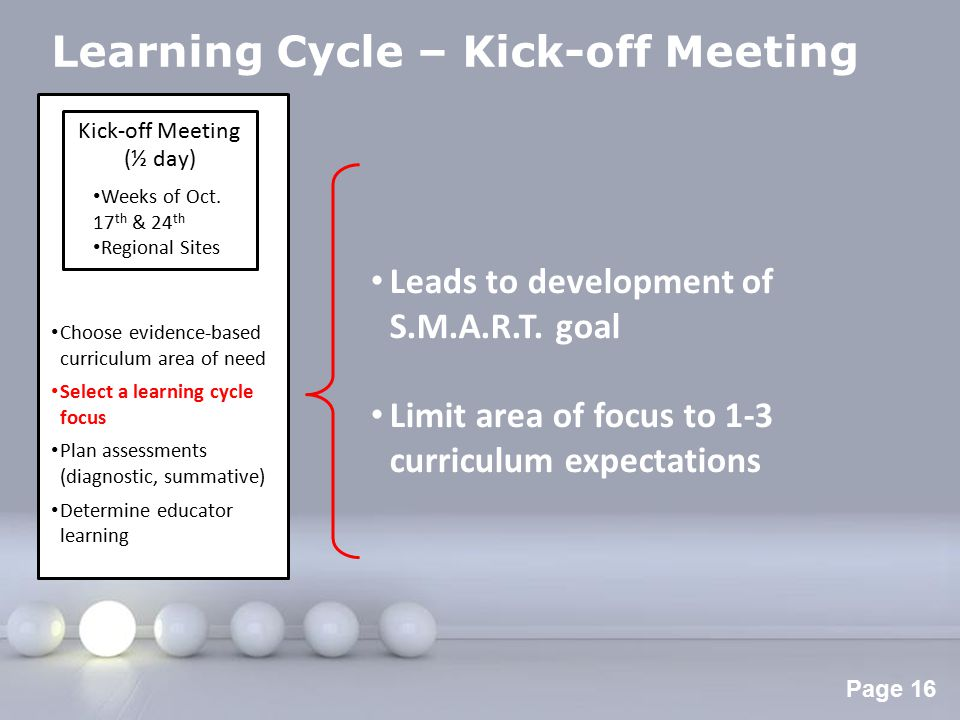 Powerpoint Templates Page 17 Learning Cycle – Kick-off Meeting Kick-off Meeting (½ day) Weeks of Oct.