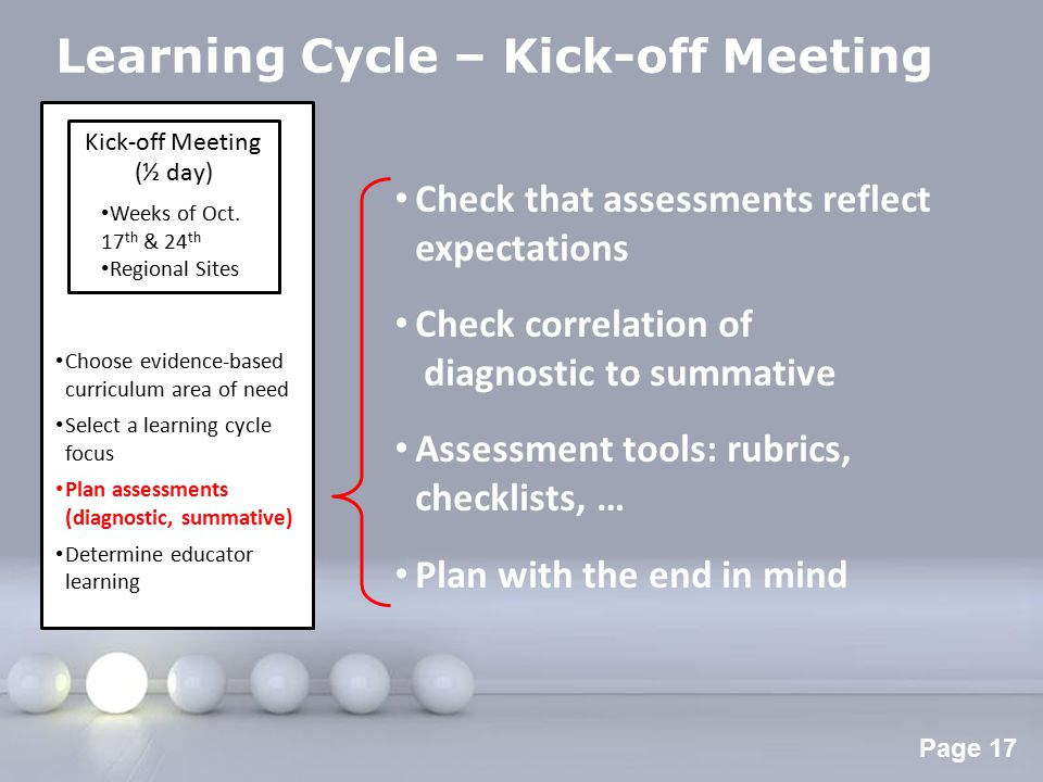 Powerpoint Templates Page 18 Learning Cycle – Kick-off Meeting Kick-off Meeting (½ day) Weeks of Oct.