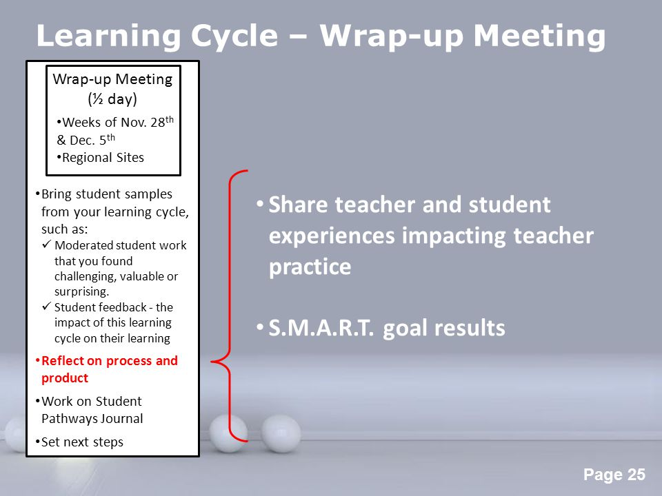 Powerpoint Templates Page 26 Learning Cycle – Wrap-up Meeting Learning Cycle Team form (Student Pathways Journal) Release-time funding forms (Secondary Learning Cycle PD Form & Cross-panel Elementary Pd Form) Wrap-up Meeting (½ day) Weeks of Nov.