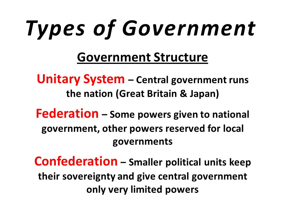 Types of Government Government Authority Authoritarian – very common 100+ years ago Dictatorship – Power concentrated in the hands of a person or small group Totalitarianism – Government tries to control every part of society Monarchy – King, Queen, Pharaoh, Shah, Sultan Democracy – People choose their leaders and have power to set government policy
