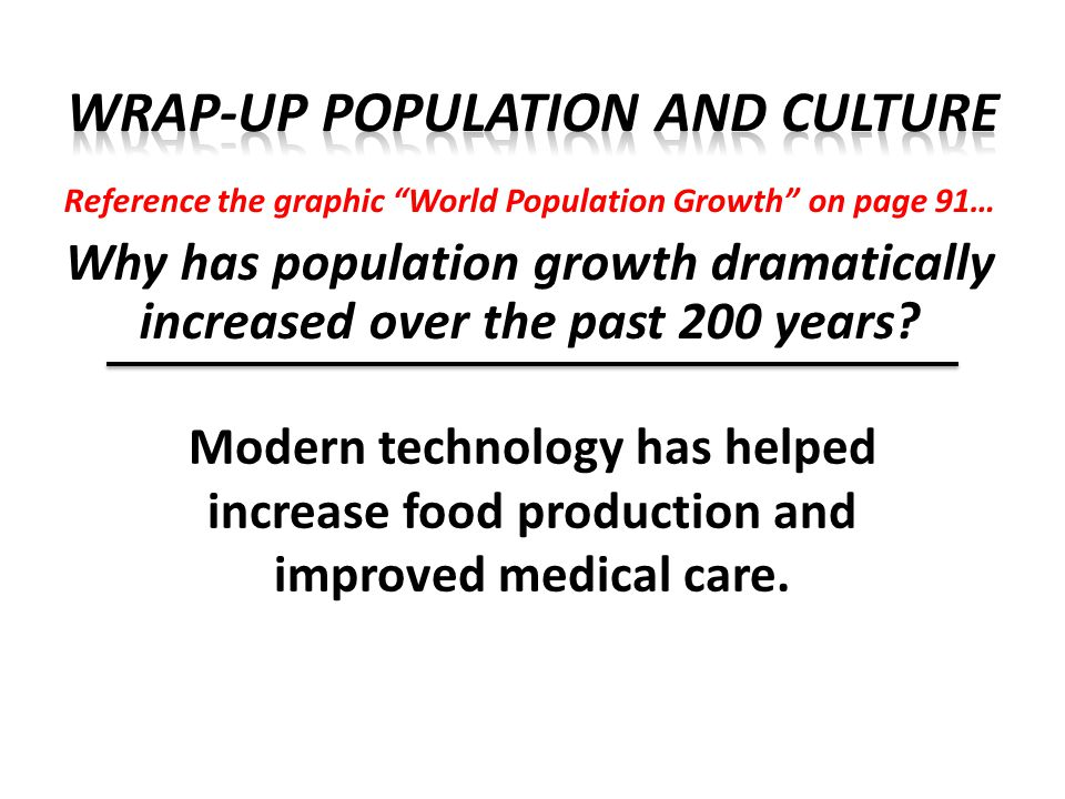 Reference the graphic World Population Growth on page 91… What are some possible effects of population growth.