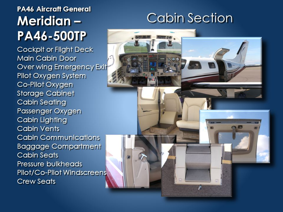 PA46 Aircraft General Meridian – PA46-500TP Aft Section Non-Pressurized Empennage Assembly Vertical Stabilizer Rudder Assembly Horizontal Stabilizer Elevator Assembly Equipment Bay ELT
