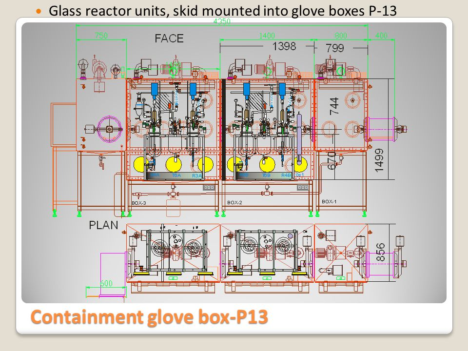 Containment glove box-P13 Reactor Skid and special vacuum line