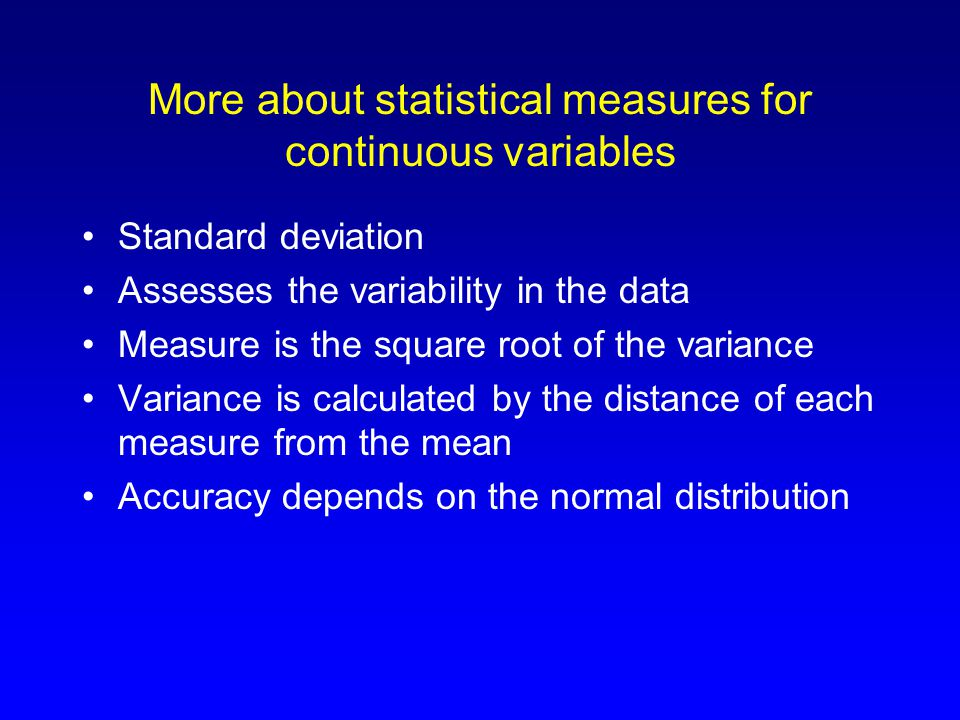 Statistical measures for categorical variables Counts (how many fall within each category) Proportions (what percentage fall within each category) Frequency distributions (comparing counts and percentages between categories)