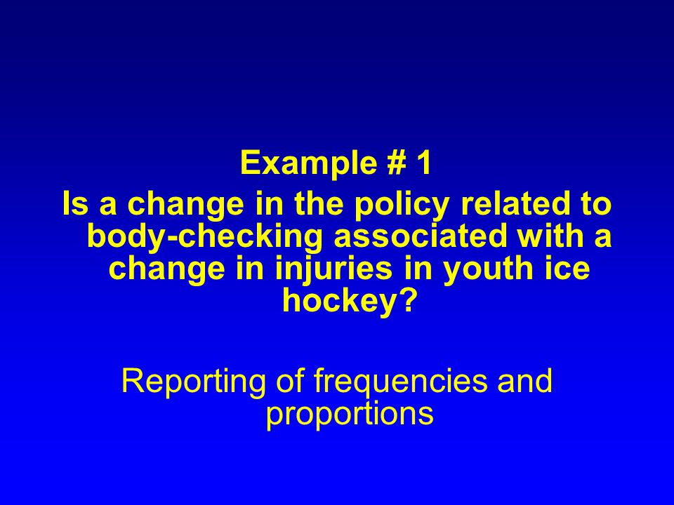 Background In 1998/1999 Ontario Hockey Federation changed policy to allow body checking among Atom rep players (elite hockey players ages 10 and 11) Ontario allows body checking at the Pee Wee level (players ages 12 and 13) Québec does not allow any body checking until Bantam level (players ages 14 and 15)