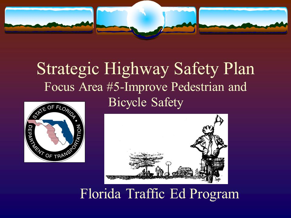 Florida DOT Strategic Highway Safety Plan Focus Area # 5 Strategy # 3: Implement a comprehensive pedestrian and bicycle traffic safety education component in at least 3 elementary and/or middle schools per year in each district.