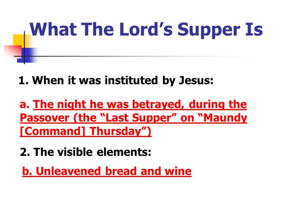 What The Lord's Supper Is 1 Corinthians 10:16 Is not the cup of thanksgiving for which we give thanks a participation in the blood of Christ.