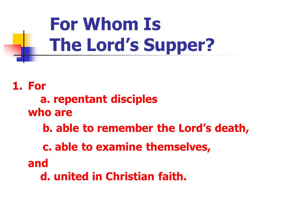 For Whom Is The Lord's Supper.