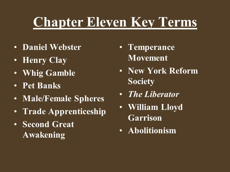Chapter Eleven Key Terms Whig Party Conscience Whigs Cotton Whigs Martin Van Buren Gag Rule Martin Van Ruin William Henry Harrison Tippecanoe and Tyler Too Log Cabin Campaign Slide 9