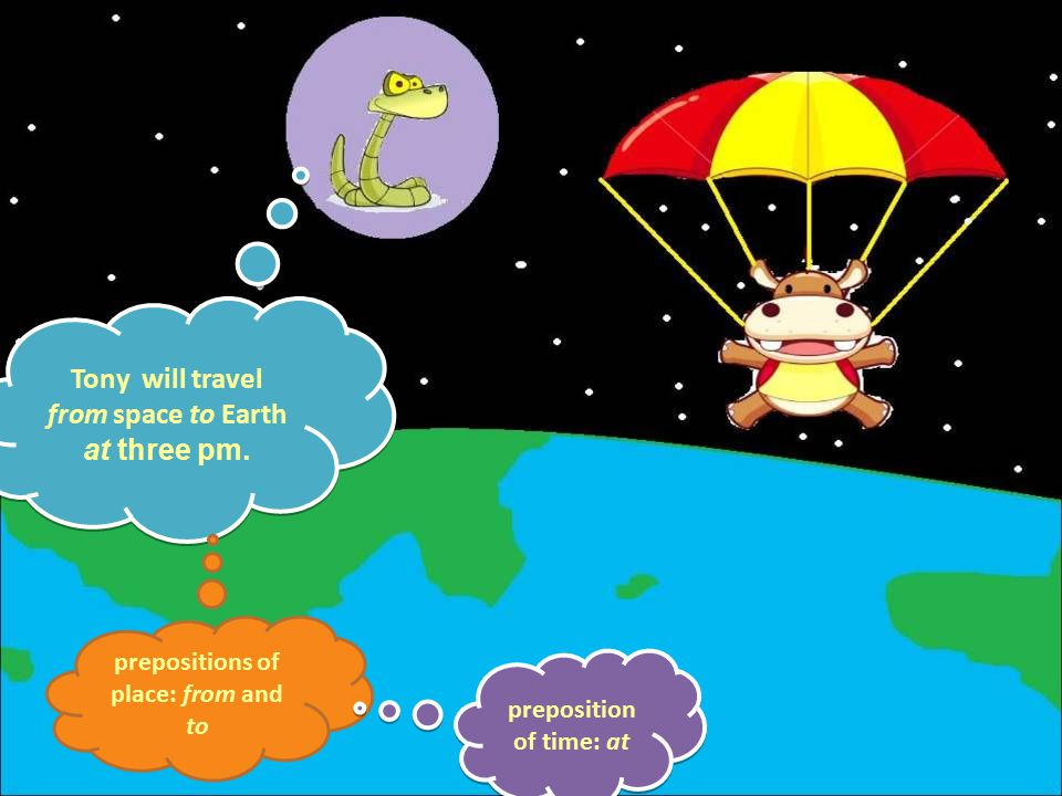 Tony will travel from space to Earth at three pm.Tony will travel from space to Earth at three pm.