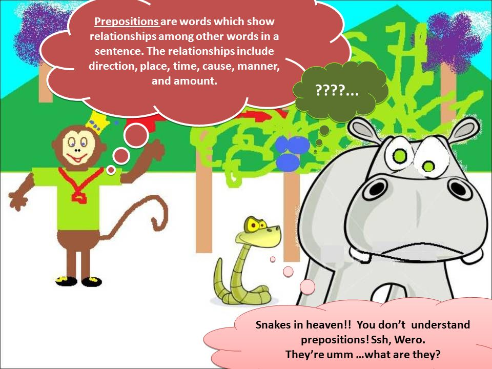 Prepositions are words which show relationships among other words in a sentence.