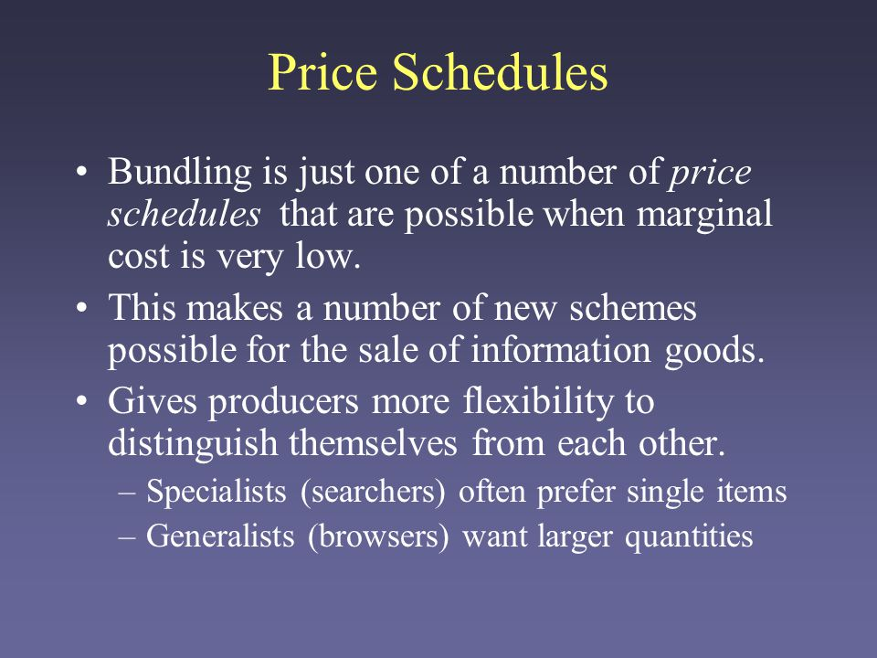 Price Schedules Per-article pricing (linear pricing): Every item costs $p.