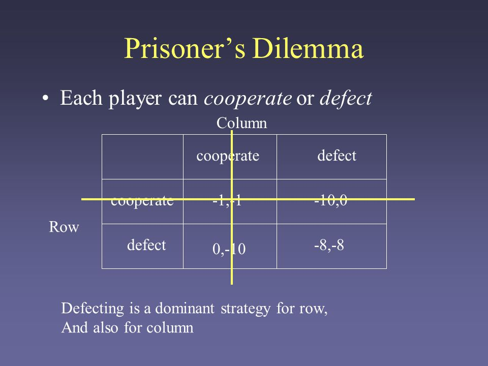 Prisoner's Dilemma Each player can cooperate or defect cooperatedefect 0,-10 -10,0 -8,-8 -1,-1 Row Column cooperate Frustration: even though mutual cooperation is a better strategy for everyone, defection is the Nash equilibrium!