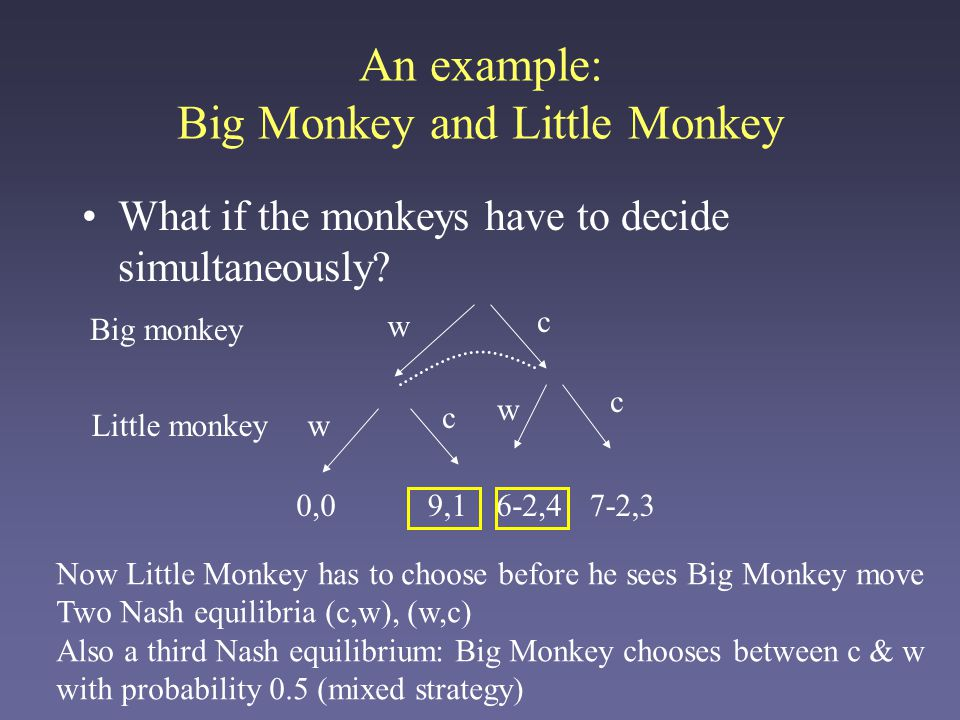 It can often be easier to analyze a game through a different representation, called normal form An example: Big Monkey and Little Monkey c cv v 5,3 4,4 0,09,1 Little Monkey Big Monkey