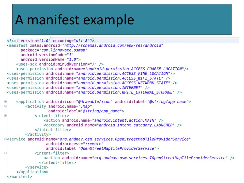 .The Activity An activity represents a single screen with a user interface (Java file + xml layout file).