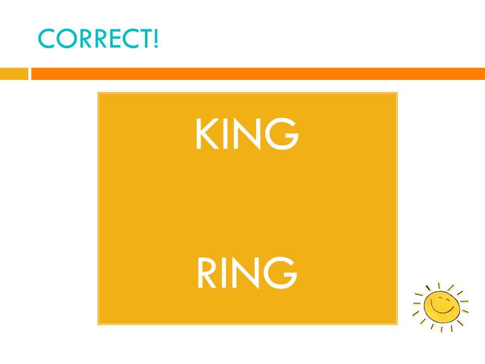 CORRECT! KING RING