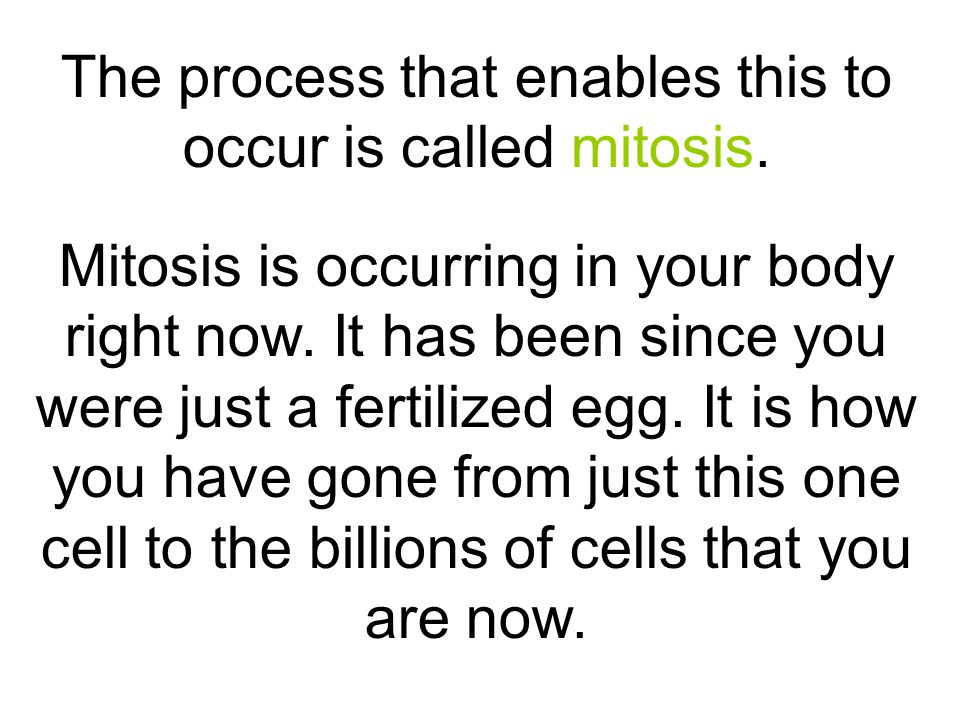 The process that enables this to occur is called mitosis.