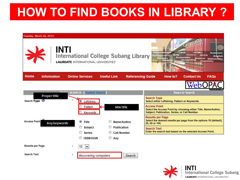 Graphical view HOW TO FIND BOOKS IN LIBRARY ?