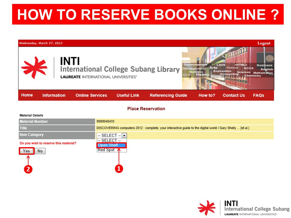 Reservation successful. Click View Reservation OR E-Reserve for more detail.