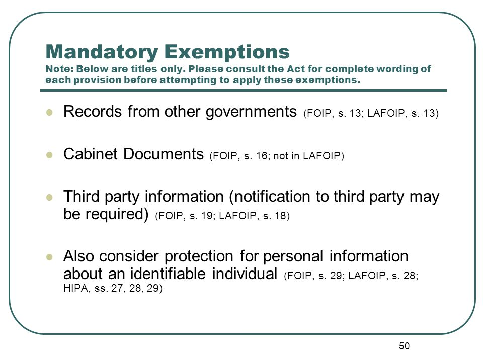 51 Discretionary Exemptions Note: Below are titles only.