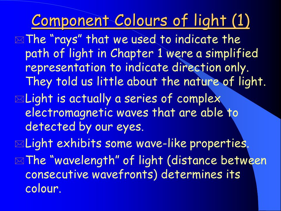 Component Colours of light (1) * The rays that we used to indicate the path of light in Chapter 1 were a simplified representation to indicate direction only.
