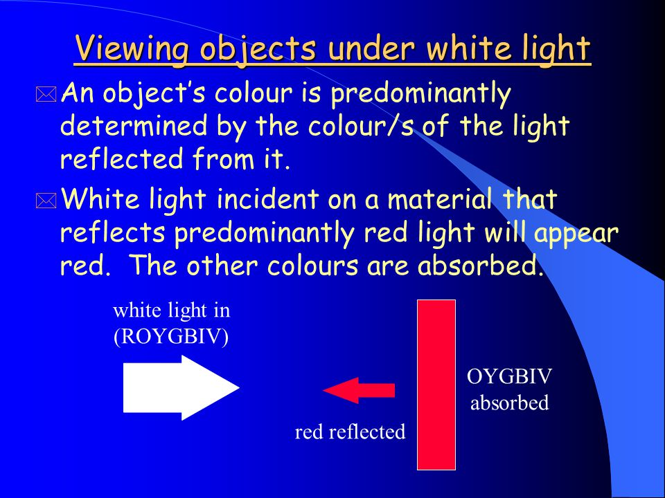 Viewing objects under white light * An object's colour is predominantly determined by the colour/s of the light reflected from it.