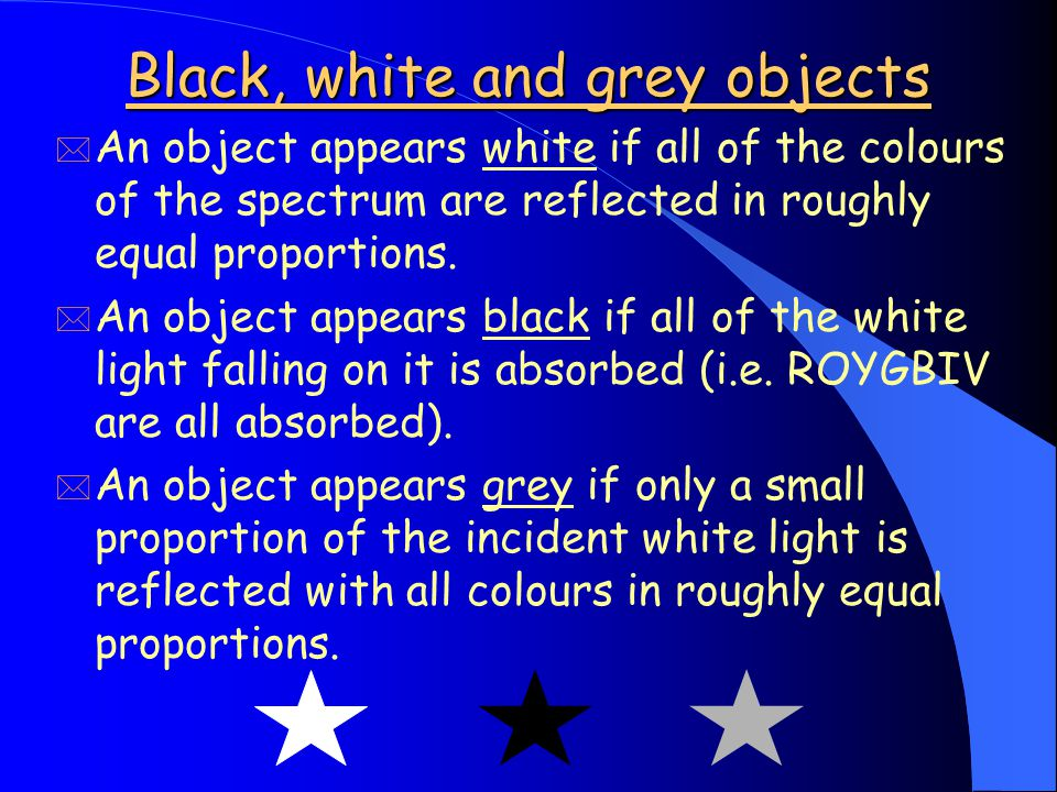 Black, white and grey objects * An object appears white if all of the colours of the spectrum are reflected in roughly equal proportions.