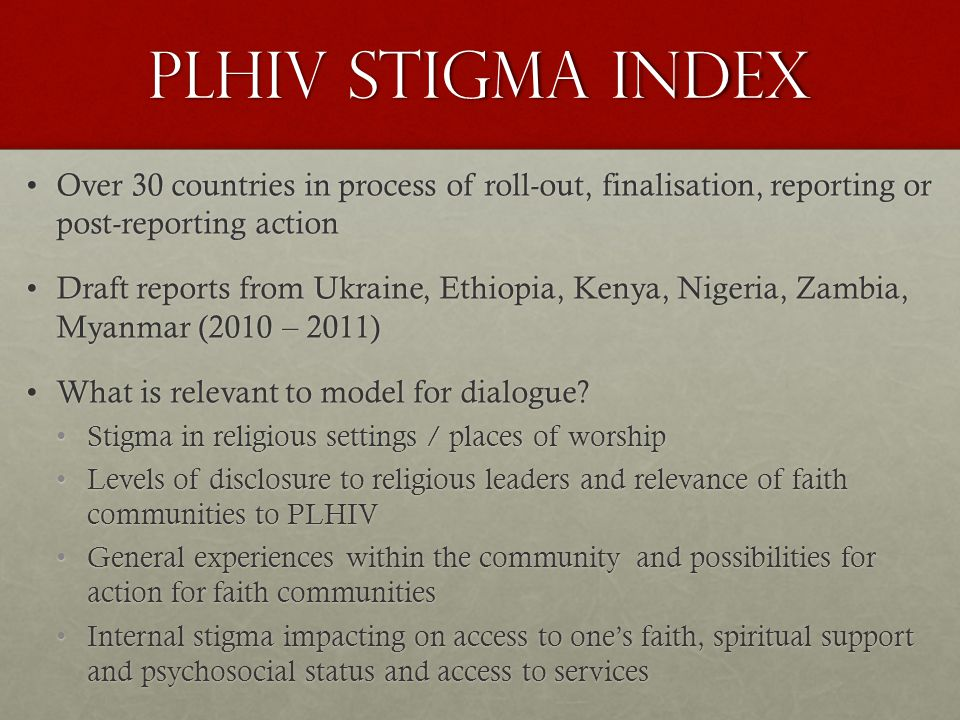 PLHIV Stigma Index Compared to levels of disclosure to religious leaders Levels of stigma experienced in religious activities/places of worship