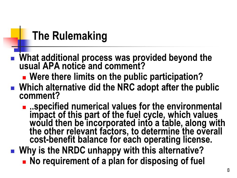 9 DC Circuit What does the DC circuit want the NRC to do to improve the due process in their rulemaking.
