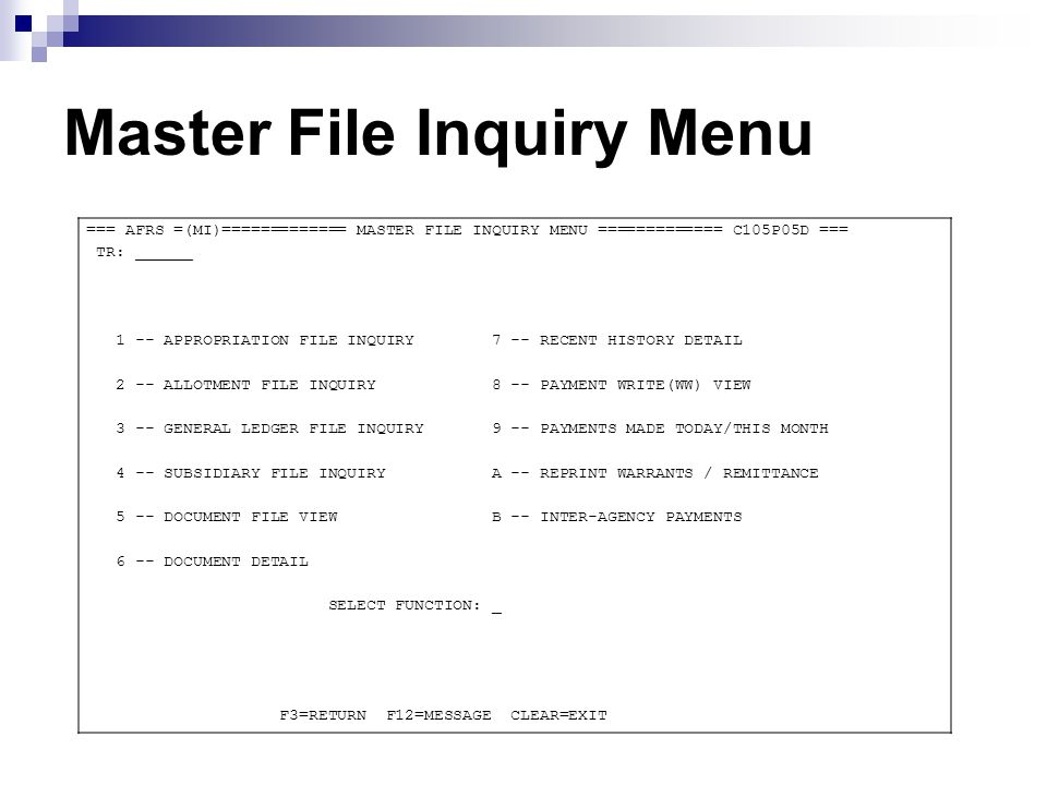 MI – Master File Inquiry Frequently Asked Questions Q- Did my batch process last night.
