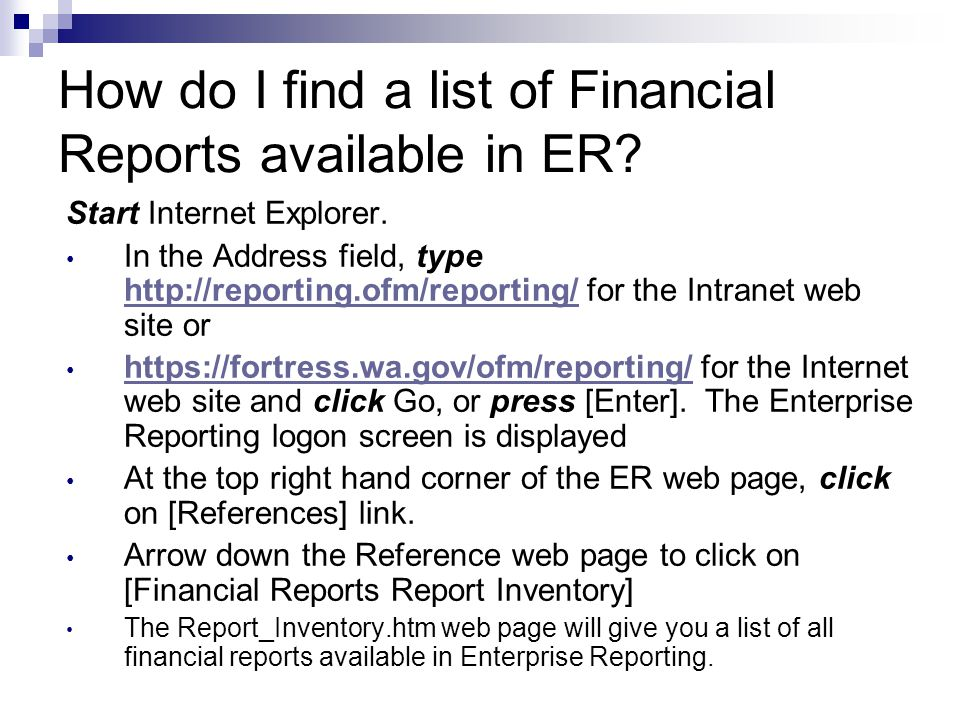 Where to find Financial Reports Links AFRS/ER Report Crosswalk Error Messages FAQs Flexible Reports Glossary Multiple Selection and Editing Rules Financial Reports Report Inventory