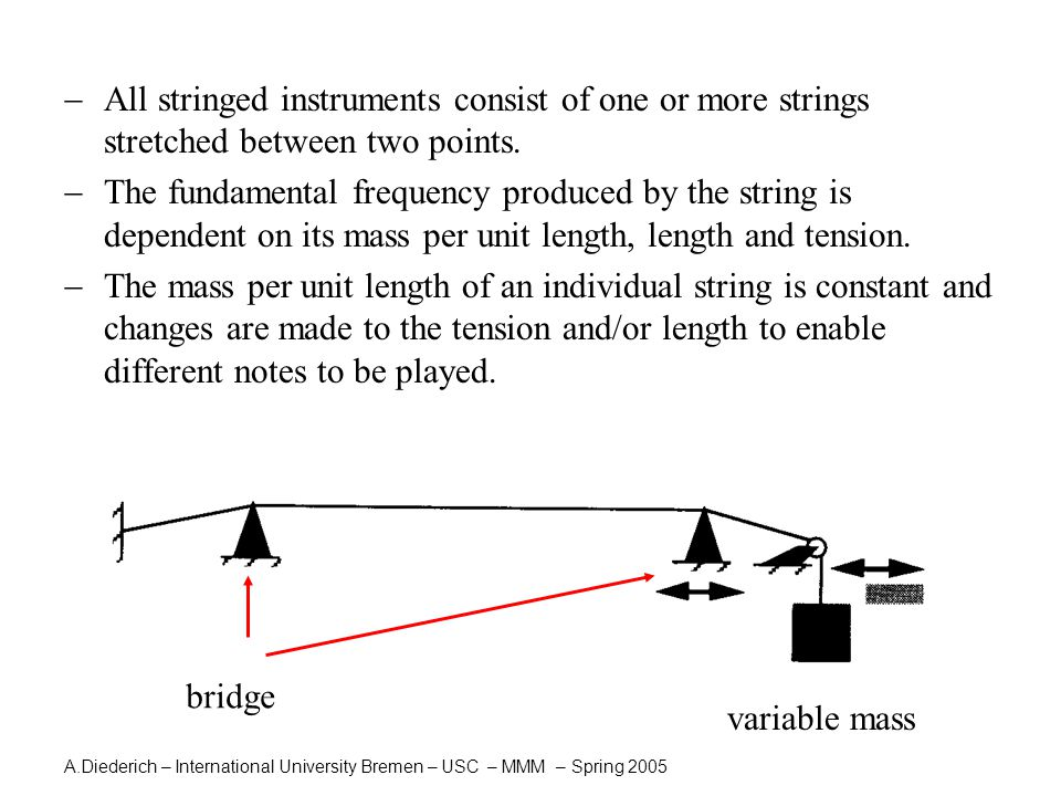A.Diederich – International University Bremen – USC – MMM – Spring 2005  The string is set into vibration to provide the sound source to the instrument.