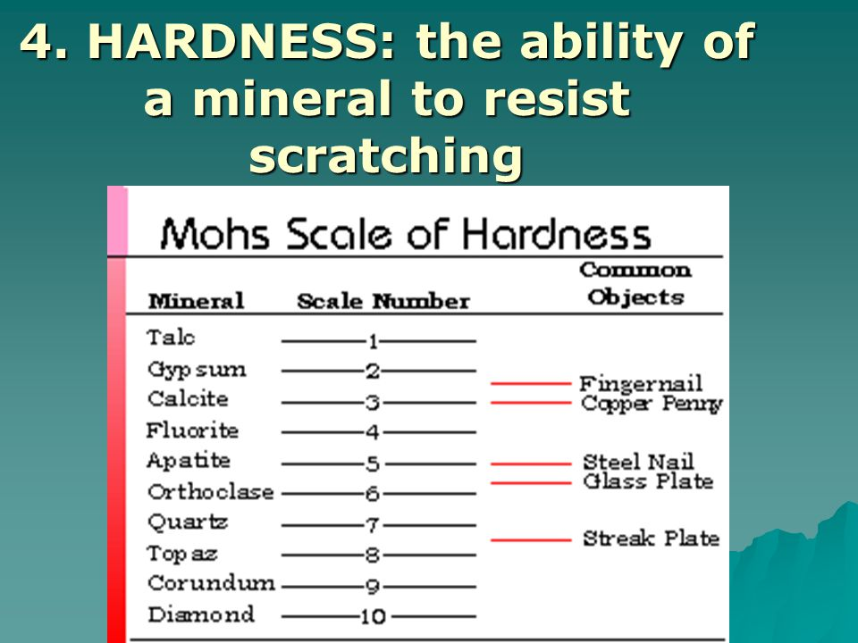  Mohs Hardness Scale: assigns a number from 1 to 10  10 is the hardest (diamond)  1 is the softest (talc)  Estimate the hardness of a mineral by dragging the mineral on a piece of window glass to see if it scratches it:  --if it does, its hardness is 5.5 or greater  --if it does not, its hardness is less than 5.5