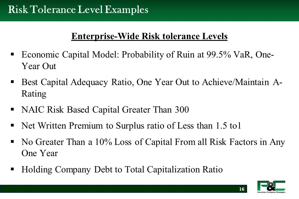 Risk Tolerance Level Examples Individual Risk Tolerance Levels  Net of Reinsurance Underwriting per Risk Retention Equal to 5% or Less of Capital (net of tax).
