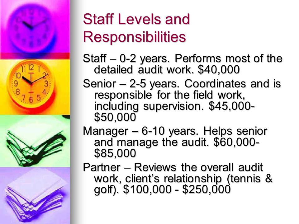 Staff Levels and Responsibilities Staff – 0-2 years.