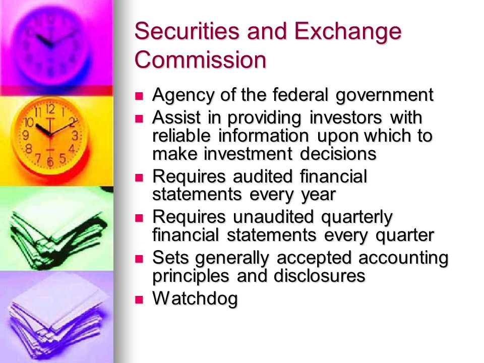Securities and Exchange Commission Agency of the federal government Agency of the federal government Assist in providing investors with reliable information upon which to make investment decisions Assist in providing investors with reliable information upon which to make investment decisions Requires audited financial statements every year Requires audited financial statements every year Requires unaudited quarterly financial statements every quarter Requires unaudited quarterly financial statements every quarter Sets generally accepted accounting principles and disclosures Sets generally accepted accounting principles and disclosures Watchdog Watchdog