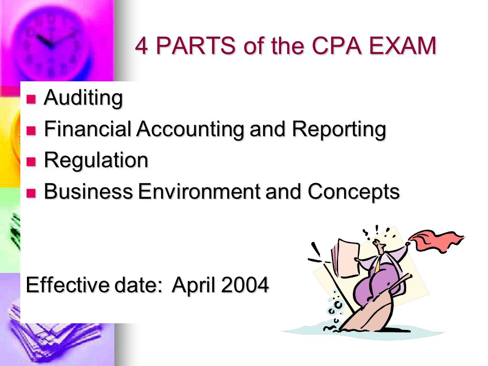 4 PARTS of the CPA EXAM Auditing Auditing Financial Accounting and Reporting Financial Accounting and Reporting Regulation Regulation Business Environment and Concepts Business Environment and Concepts Effective date: April 2004