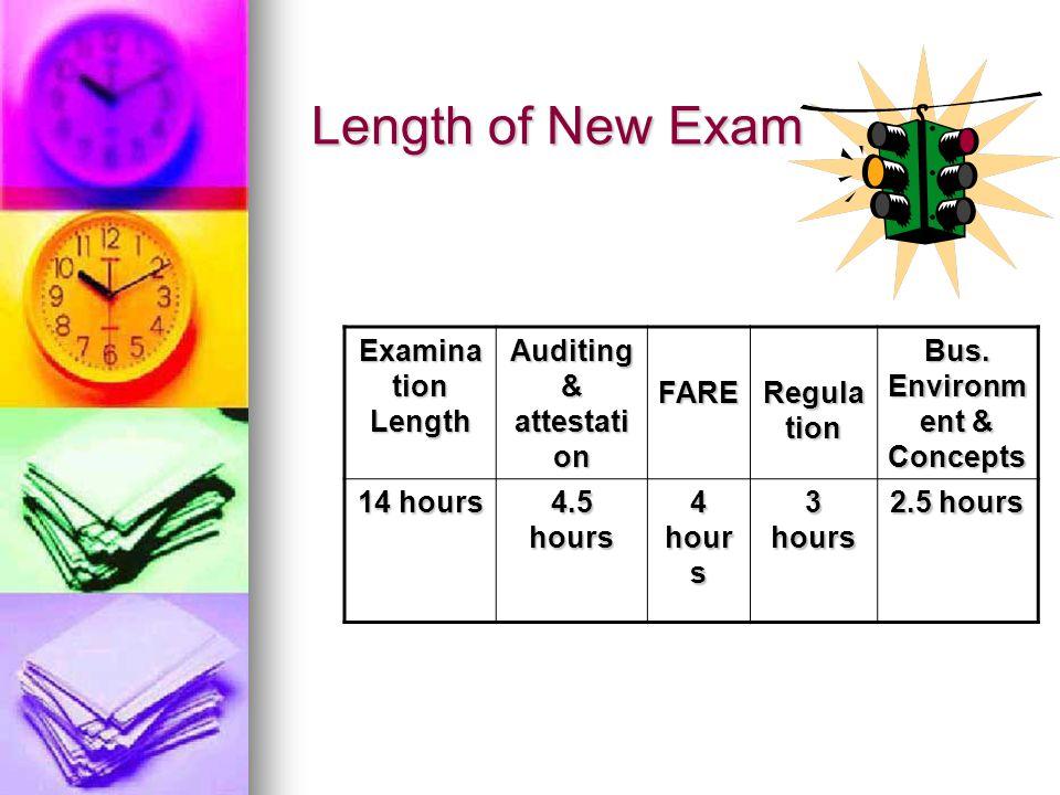 Length of New Exam Examina tion Length Auditing & attestati on FARE Regula tion Bus.