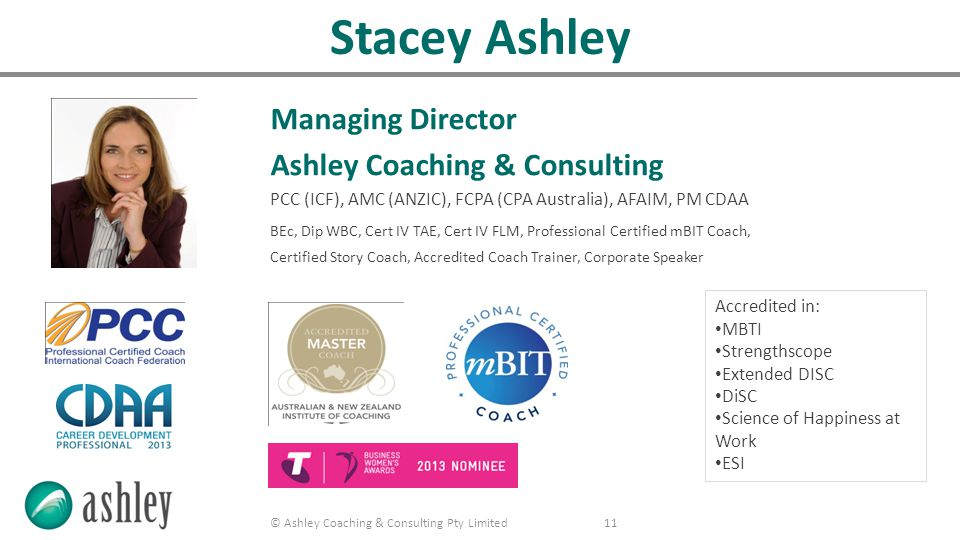 © Ashley Coaching & Consulting Pty Limited 12 Our clients