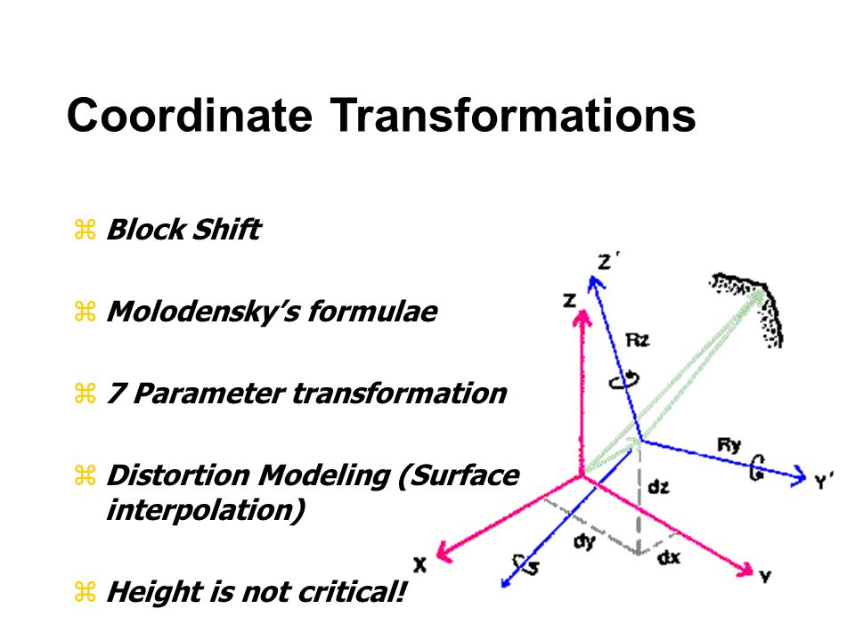 zBlock Shift zMolodensky's formulae z7 Parameter transformation zDistortion Modeling (Surface interpolation) zHeight is not critical.