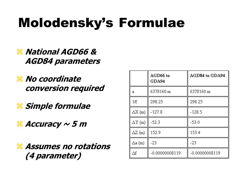 zNational AGD66 & AGD84 parameters zNo coordinate conversion required zSimple formulae zAccuracy ~ 5 m zAssumes no rotations (4 parameter) Molodensky's Formulae