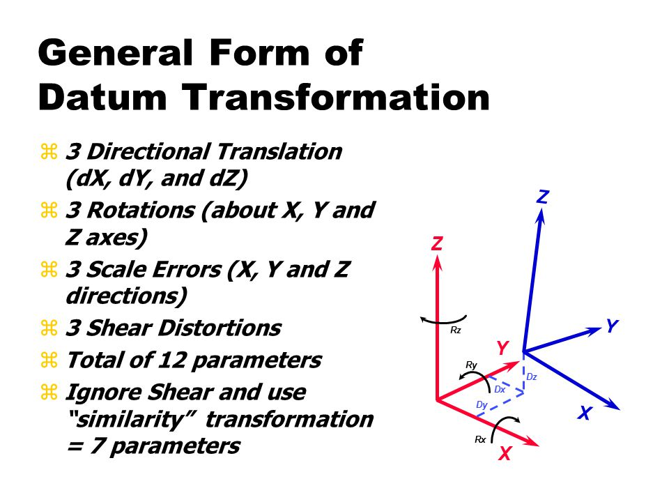 General Form of Datum Transformation z3 Directional Translation (dX, dY, and dZ) z3 Rotations (about X, Y and Z axes) z3 Scale Errors (X, Y and Z directions) z3 Shear Distortions zTotal of 12 parameters zIgnore Shear and use similarity transformation = 7 parameters Y X Z Y X Z Dx Dy Dz Rx Ry Rz