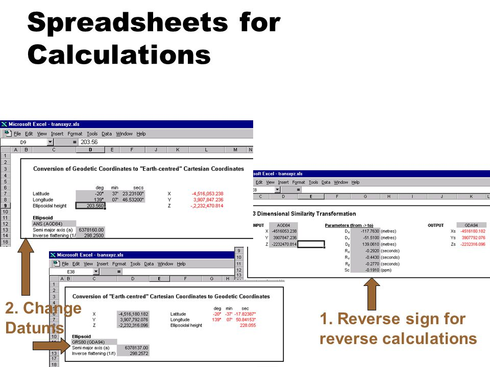 Spreadsheets for Calculations 1. Reverse sign for reverse calculations 2. Change Datums