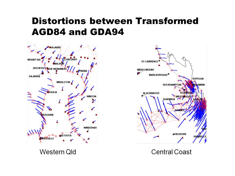 Distortions between Transformed AGD84 and GDA94 Western QldCentral Coast